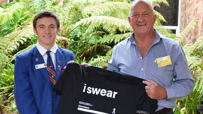 Downlands College vice captain Damian Leggat with Toowoomba Hospital Foundation CEO and White Ribbon ambassador Peter Rookas.