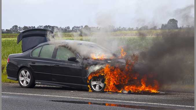 Car on fire on Tweed Valley Way at old Oak Avenue