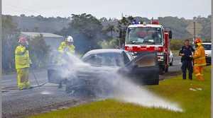 Firemen attend car fire in Tweed valley way