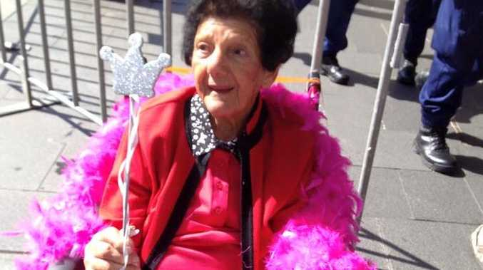 Naughty nan Zita Doblie celebrates her 90th birthday at the Sydney Mardi Gras.
