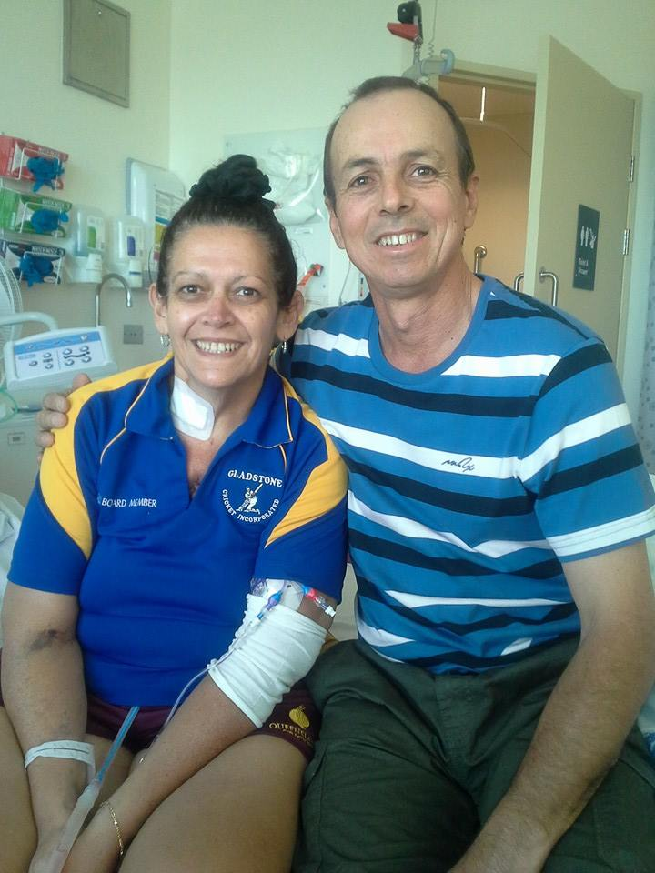 Tracey Slatter seven days after her double lung transplant, with her husband Greg.