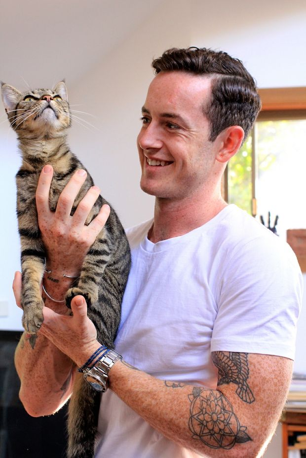 Co-Founder Ben Burton, and his kitten Zeppee