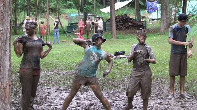 Scouts having muddy fun!