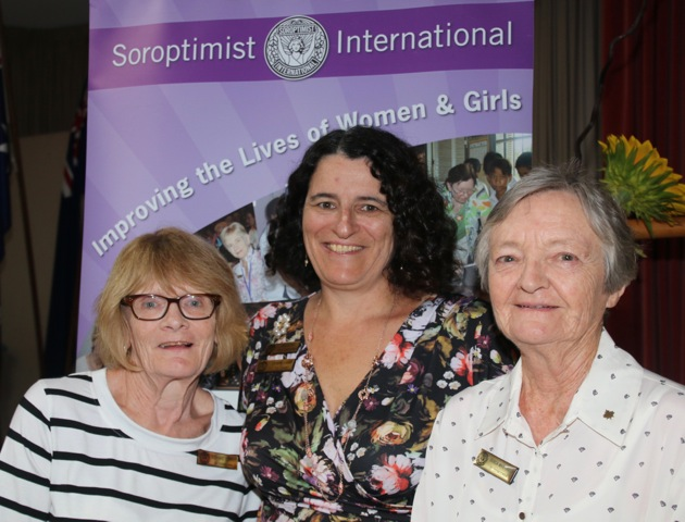 At the Soroptimists International South East Queensland regional meeting were (from left) Suzanne Combes of Toowoomba, Cesarina Gigante of Logan and Patricia White-Davison of Toowoomba.