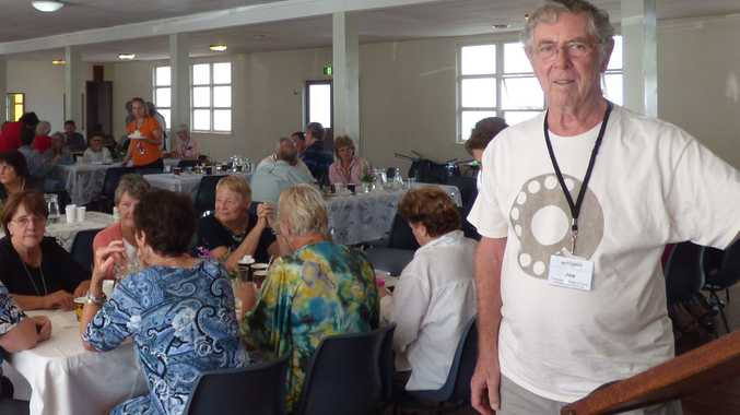 Parkinson's Support Group member Joe Chalmers (front) joined more than 100 people at the Make Parkinson's a Priority pancake lunch.