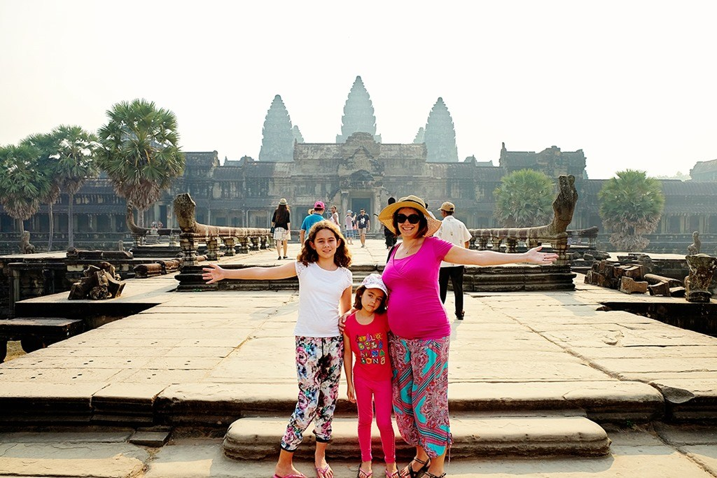 Jolene, Katie-Lee and Lily Ejmont at the famous Angkor Wat Temple, Cambodia.