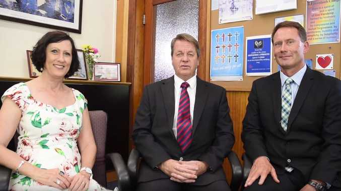 Downlands College Principal, Mr Stephen McIllhatton (middle), with Years 5 and 6 teachers Ms Leigh Lucht and Mr Keith Blaikie.