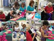 Members of the Zonta Club of Rockhampton Inc at work making breast care cushions for ladies who have undergone a mastectomy.