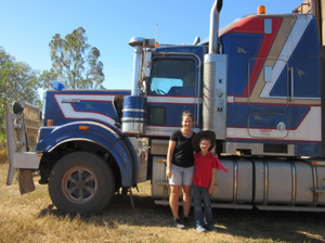 Miss Greenaway and I with Dad's Kenworth 501
