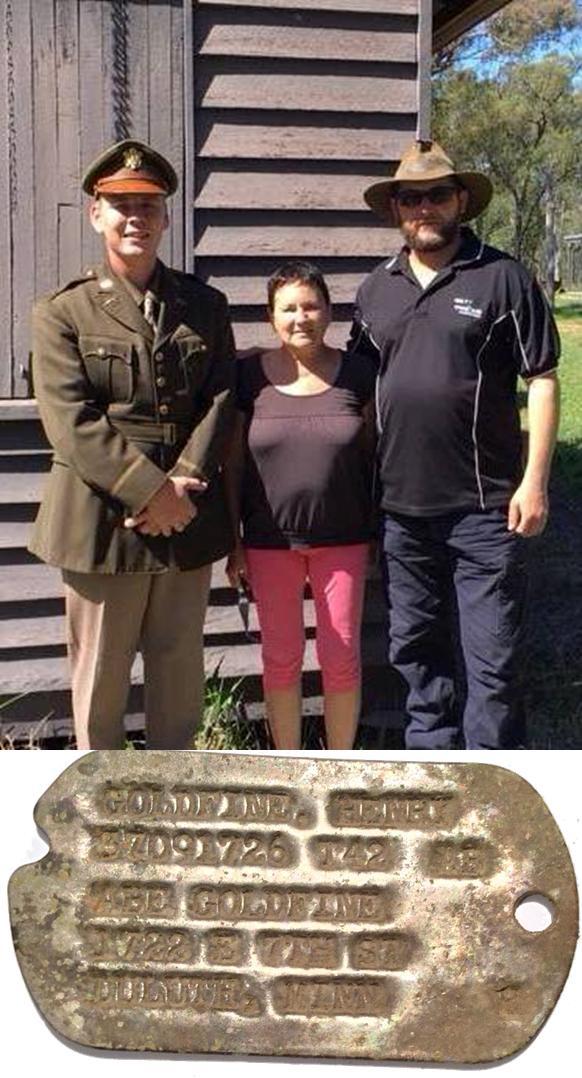 Left Anthony Egretz (Dog Tag Finder), Middle Linda Goldstein (Daughter of Henry Goldfine) & Right Tim Hill Tag (Researcher / Returner)
