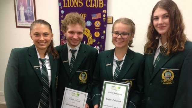 Noosa District State High School Competitors Rebecca Bright, Krishan McLean, Kalen Anderson and Chloe Charlesworth