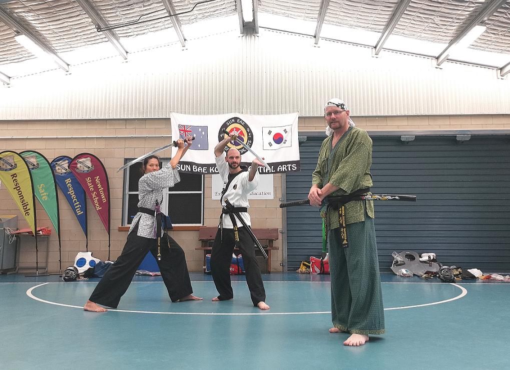 Sun Bae Instructor Shirly Sieh,  Instructor John Handyside and Master Bradley Tatnell