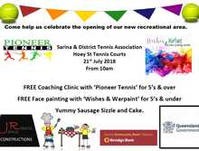 Sarina Tennis - Playground/BBQ Area Opening Day