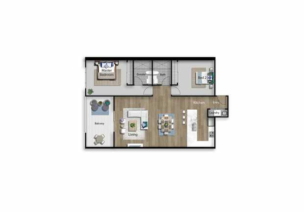 Brand new unit, 2 bedrooms with built ins, 2 bathrooms, single carpark with an open plan living...