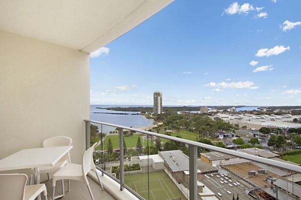 This one bedroom, eighth floor apartment captures striking Harbour, River, Ocean and Hinterland View...
